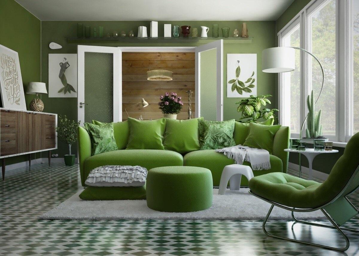 Дизайн зала в зеленом цвете фото